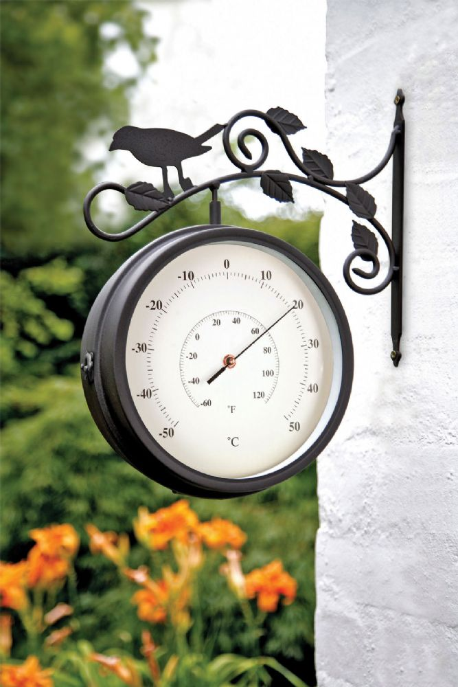 Birds of Britain Swivel Garden Clock Thermometer 4372